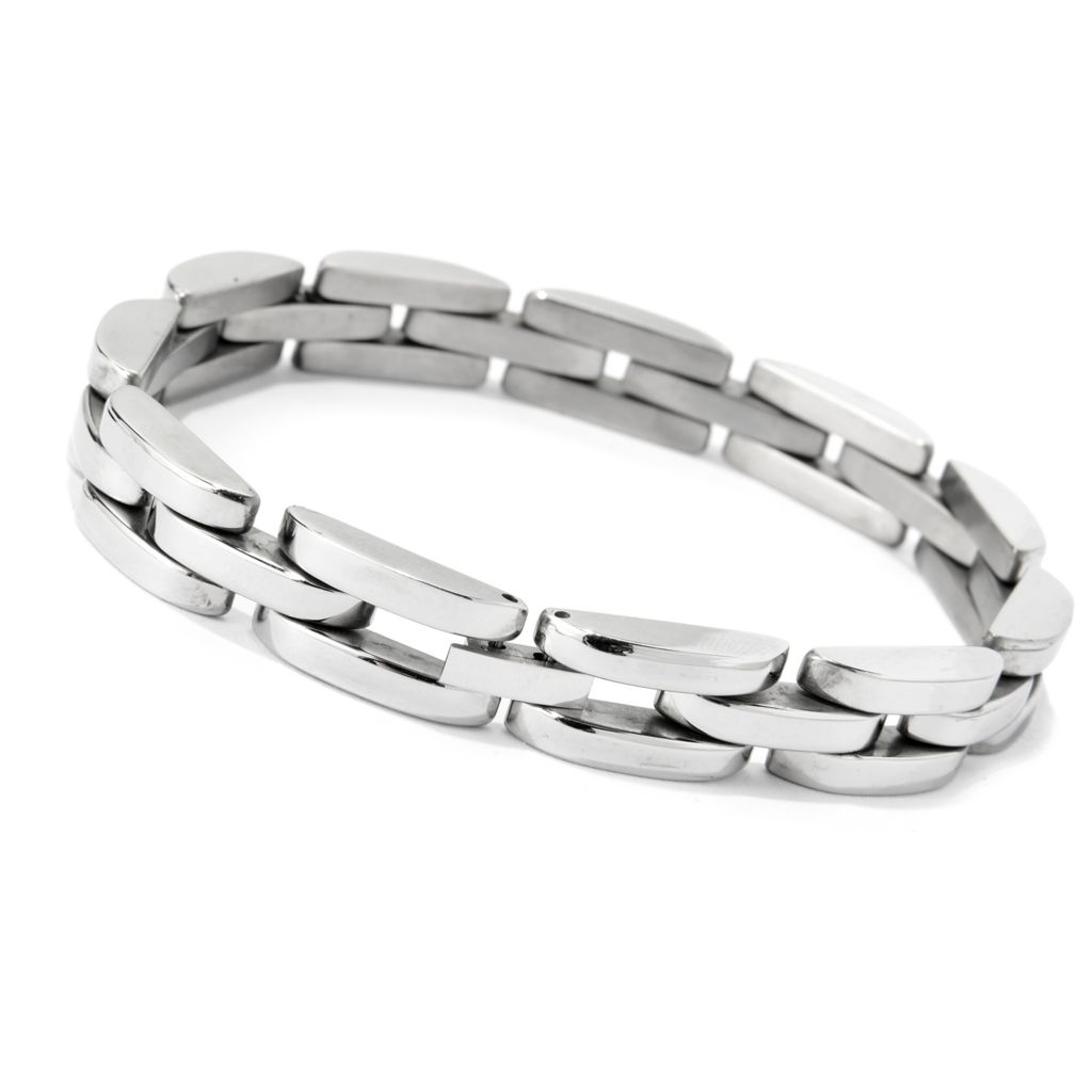 "138-926 - Steel Impact™ Men's Stainless Steel 8.5"" Polished Brick Link Bracelet"