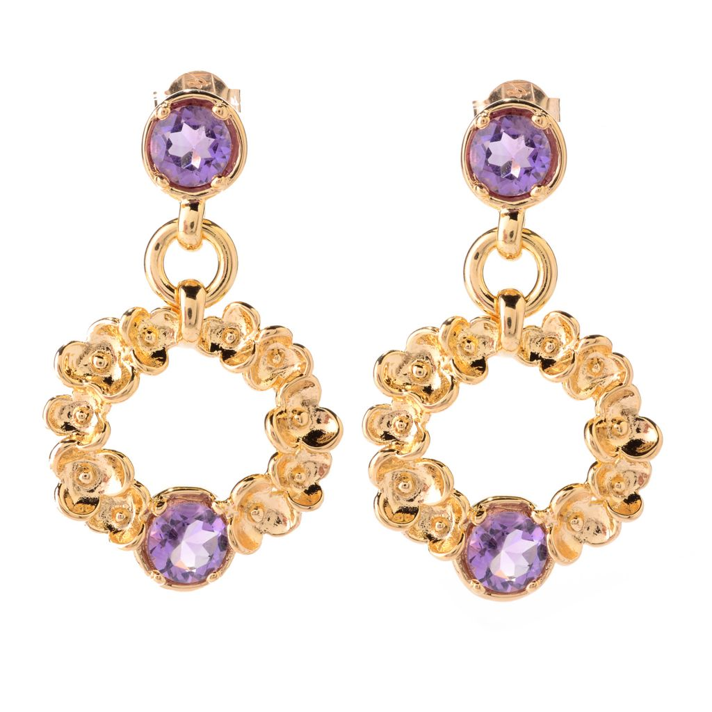 "138-929 - Toscana Italiana 18K Gold Embraced™ 1.5"" Gemstone Floral Cut-out Drop Earrings"