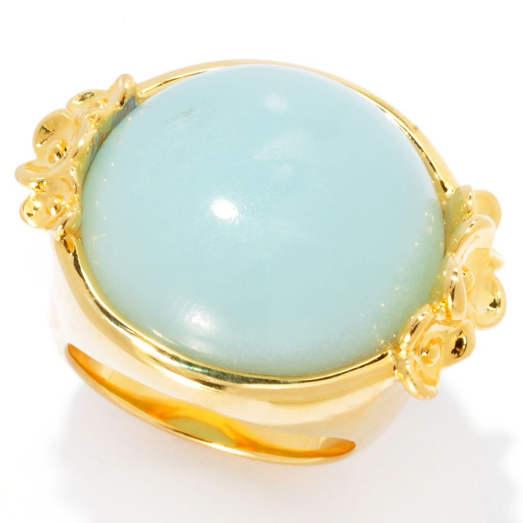 138-930 - Toscana Italiana 18K Gold Embraced™ 20mm Round Gemstone Floral Ring