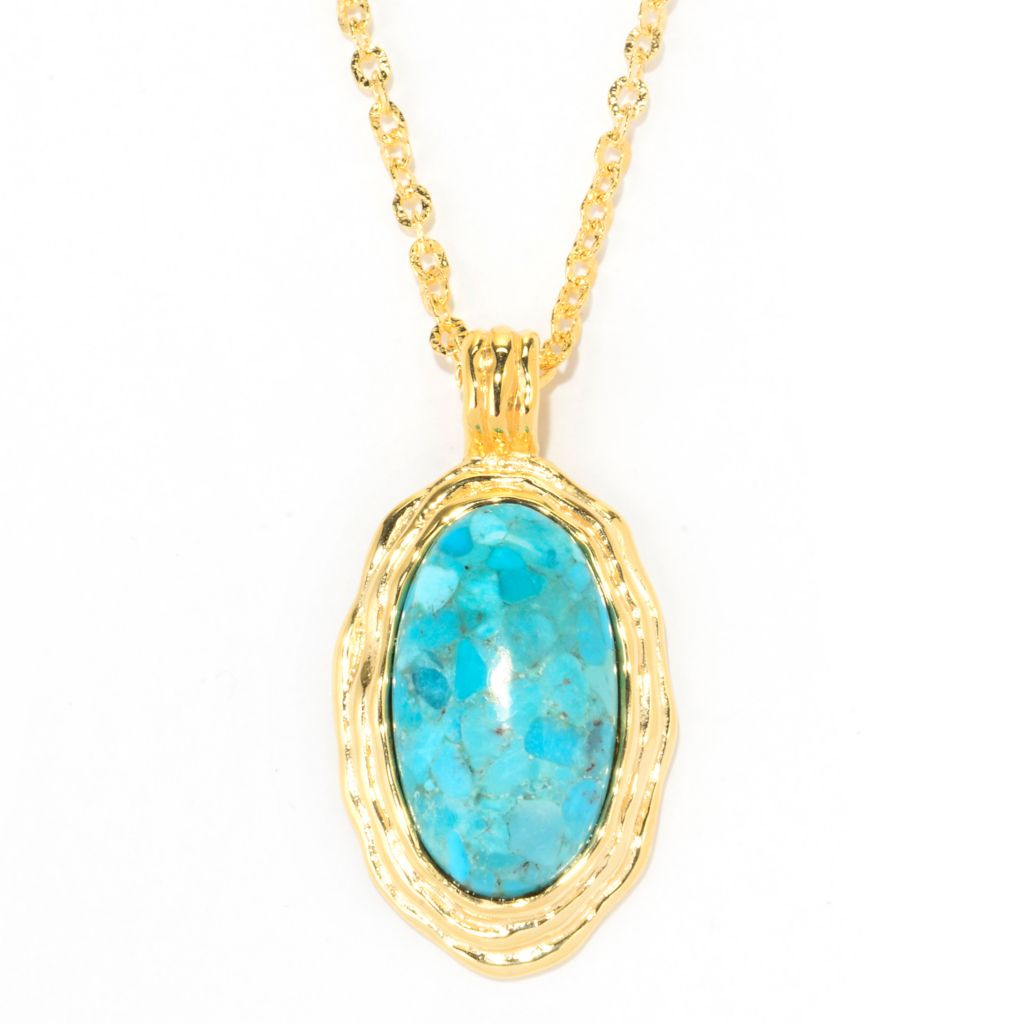 "138-931 - Toscana Italiana 18K Gold Embraced™ 34 x 19mm Oval Turquoise Pendant w/ 30"" Chain"