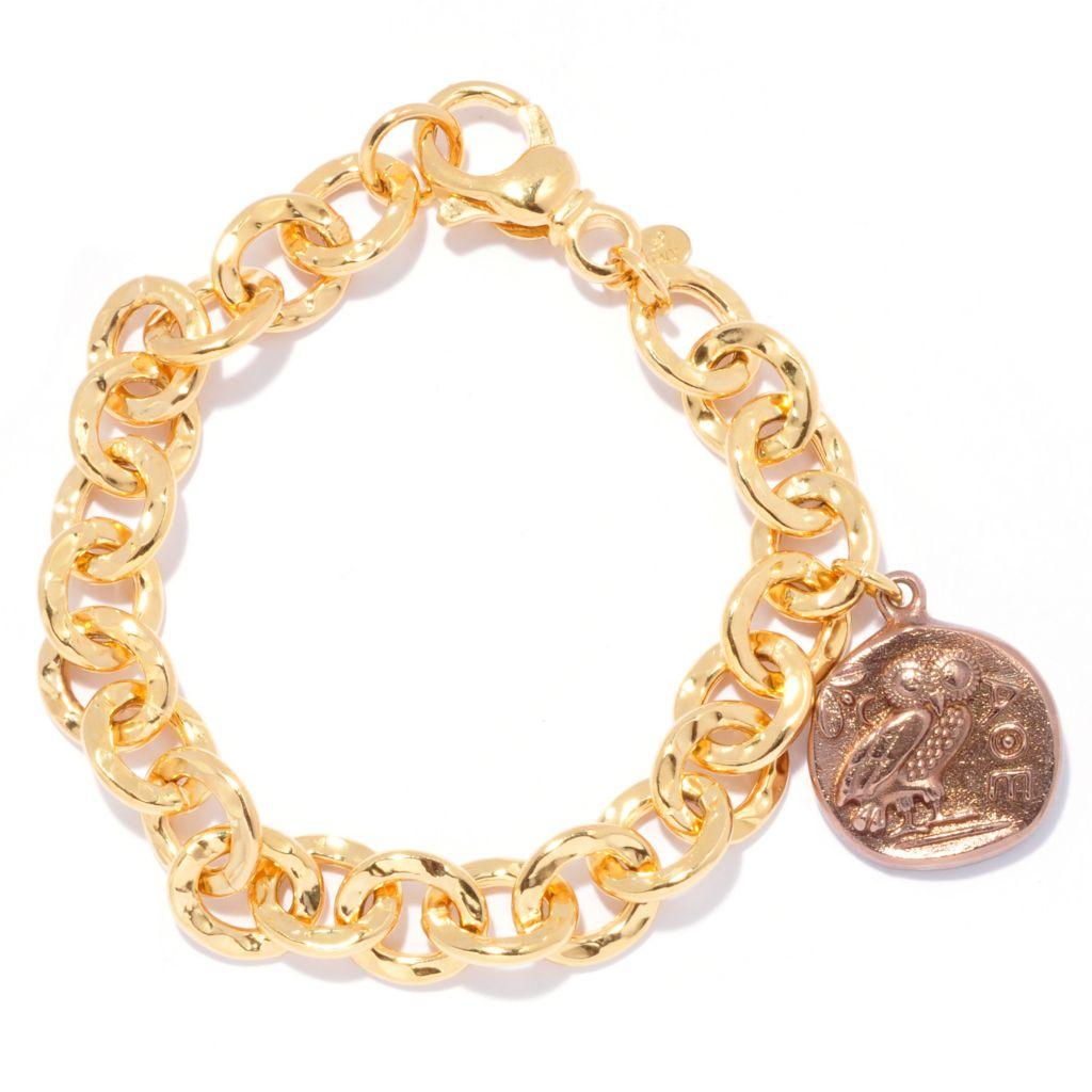"138-932 - Toscana Italiana 18K Gold Embraced™ 8"" Owl of Athena Coin Charm Rolo Link Bracelet"