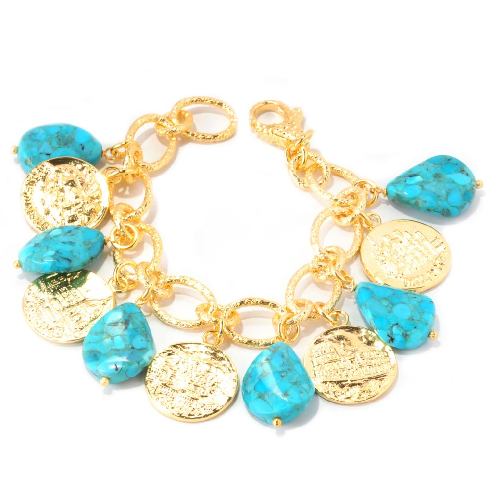 138-933 - Toscana Italiana 18K Gold Embraced™ 20 x 15mm Turquoise & Coin Charm Bracelet