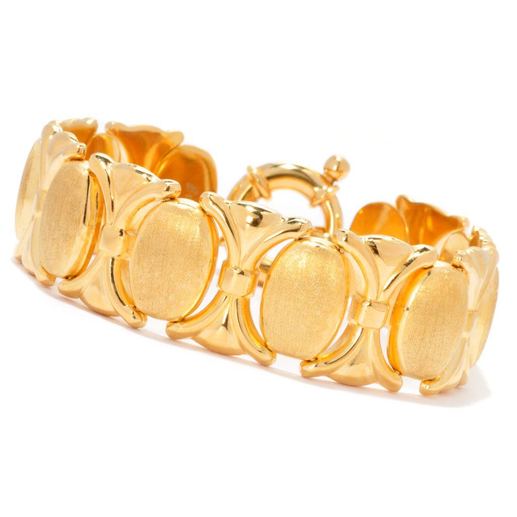 """138-934 - Toscana Italiana 18K Gold Embraced™ 7.5"""" Polished & Satin Finished XO Link Bracelet"""