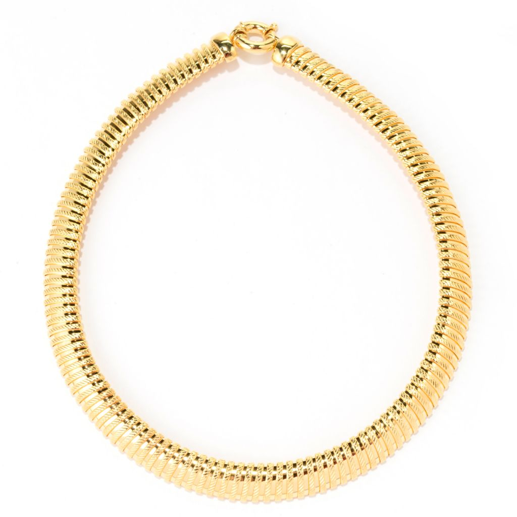 "138-937 - Toscana Italiana 18K Gold Embraced™ 18"" Polished & Textured Panel Omega Necklace"
