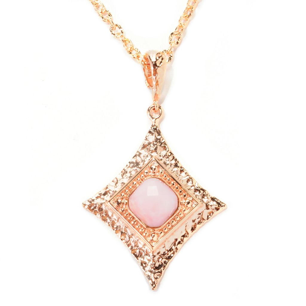 138-938 - Toscana Italiana 18K Gold Embraced™ 12mm Pink Opal Diamond Shaped Pendant w/ Chain