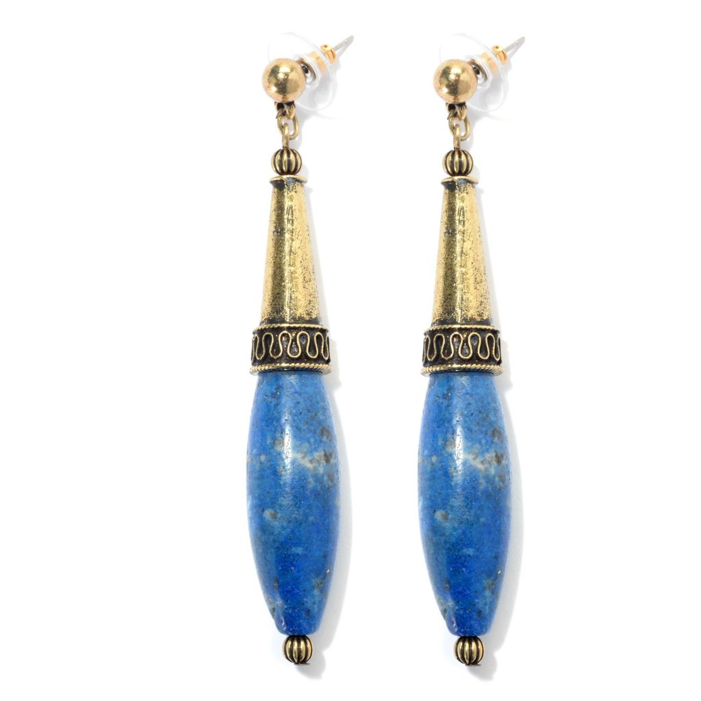 "138-940 - Pathara™ 3"" 36 x 12mm Elongated Gemstone Bali-Inspired Drop Earrings"