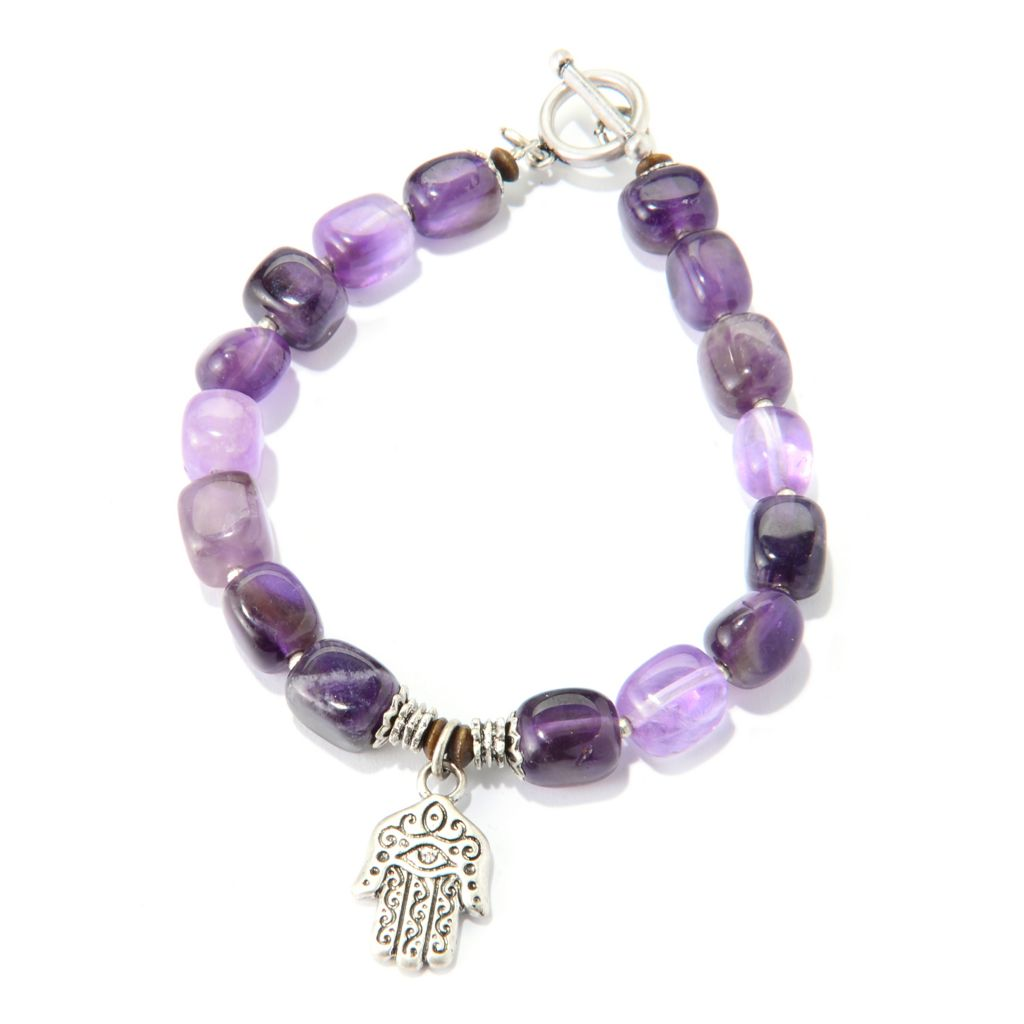 138-945 - Pathara™ Gemstone Nugget Beaded Hamsa Charm Toggle Bracelet