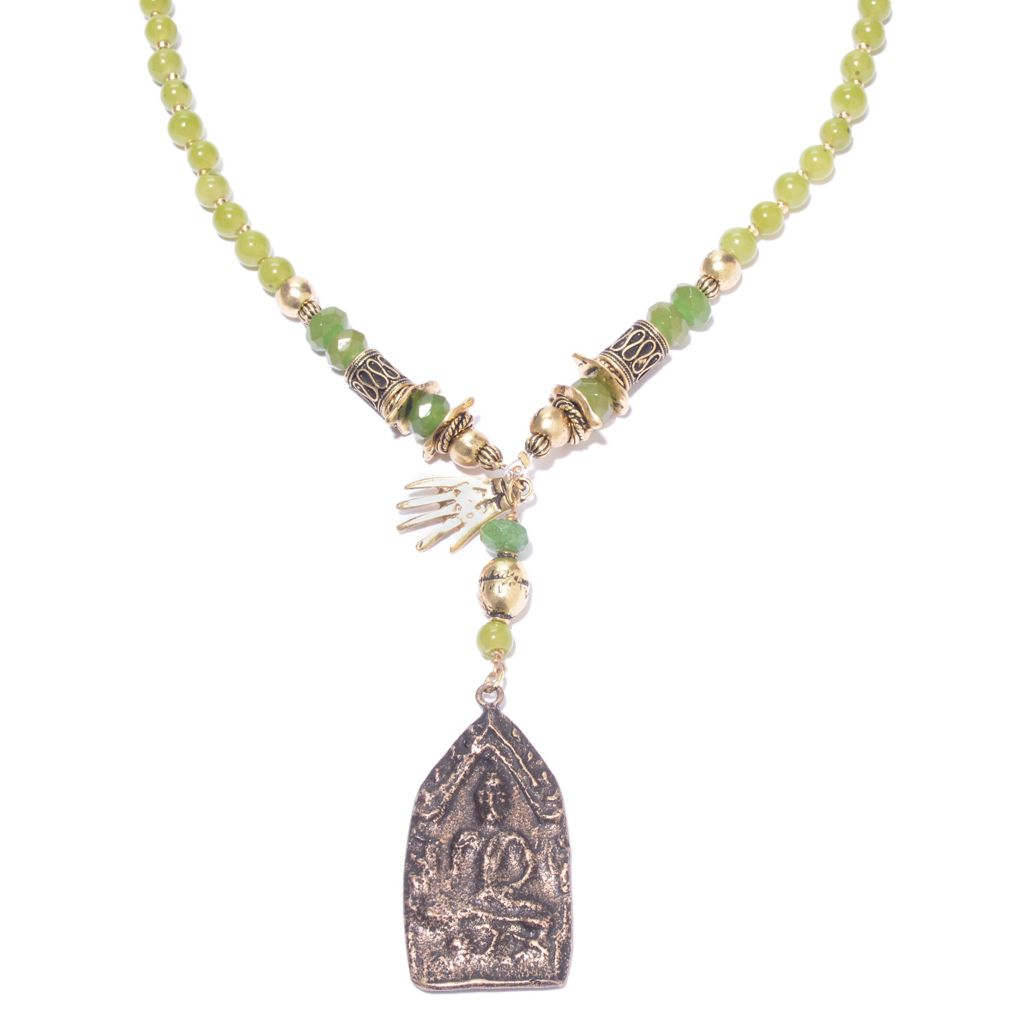 "138-950 - Pathara™ 34"" Gemstone Beaded Buddha Drop Necklace"
