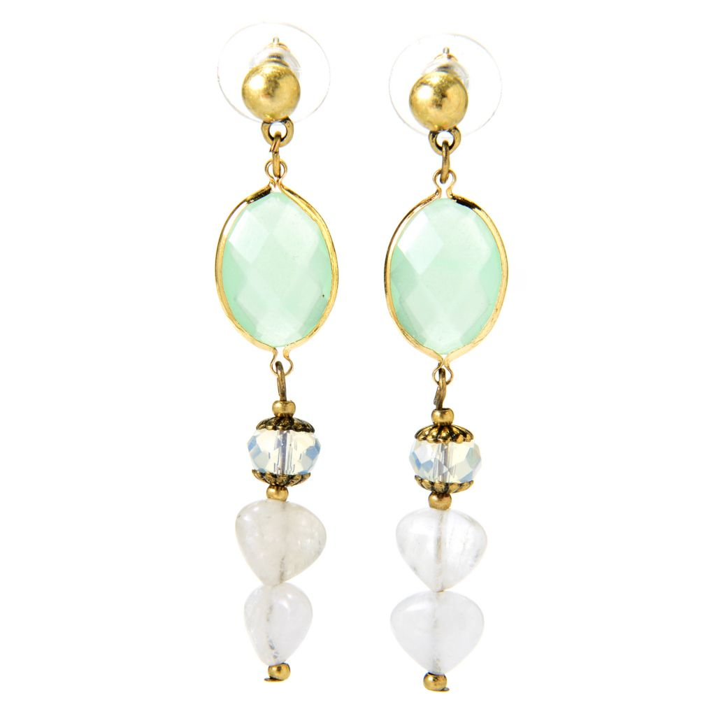 "138-951 - Pathara™ 2.25"" Gemstone Beaded Drop Earrings"