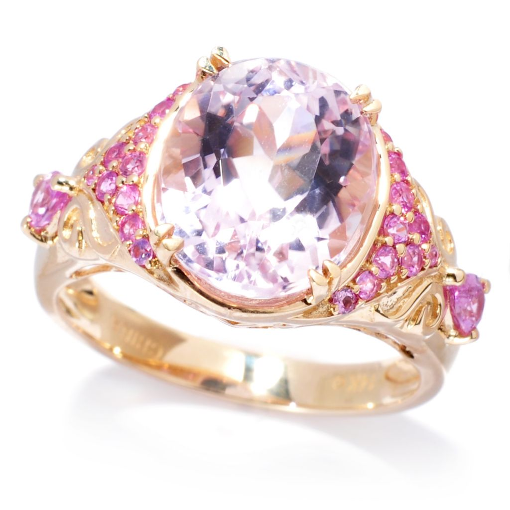 138-954 - Gem Treasures 14K Gold 5.28ctw Kunzite & Pink Sapphire Textured Ring