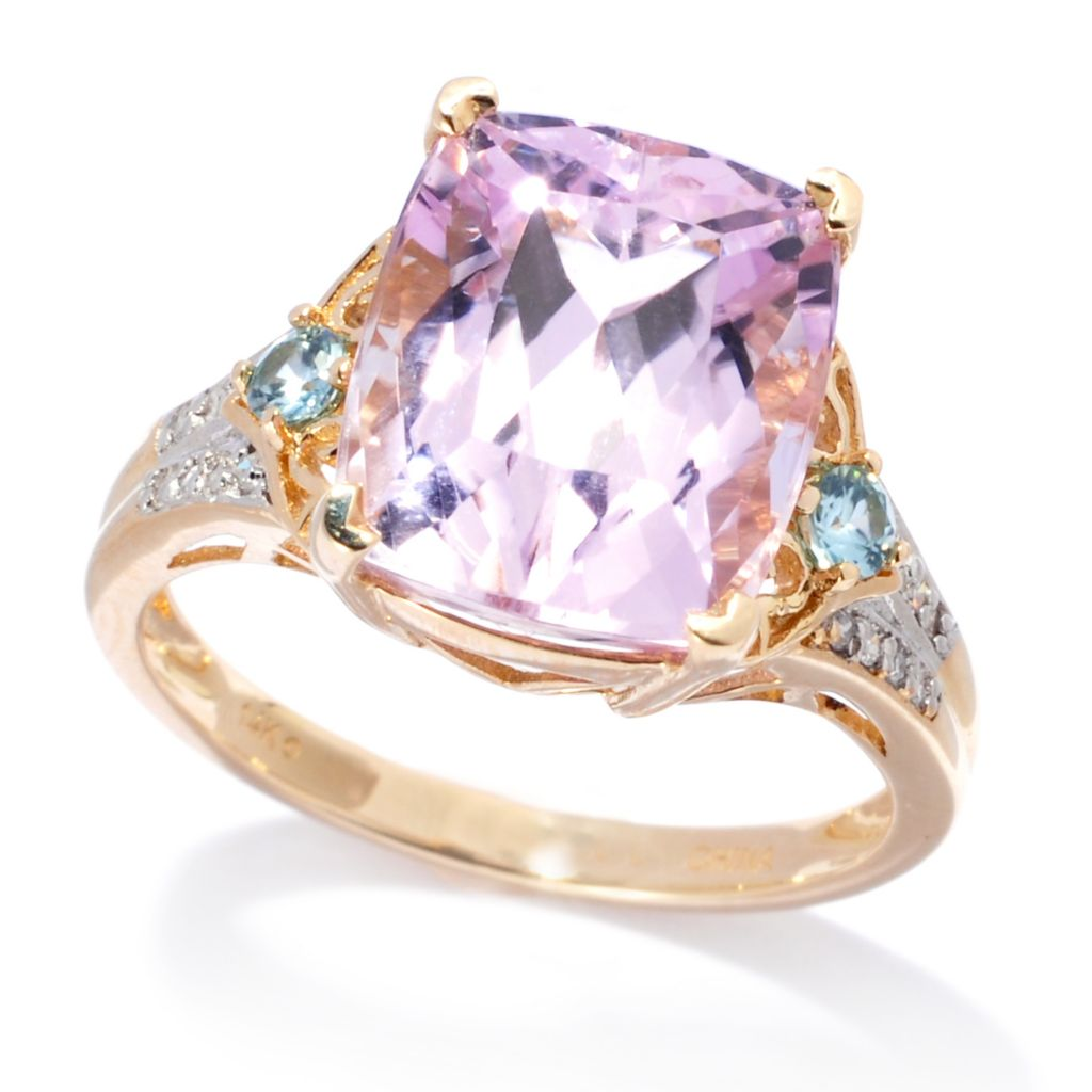 138-956 - Gem Treasures 14K Gold 5.99ctw Kunzite, Blue Zircon & Diamond Ring