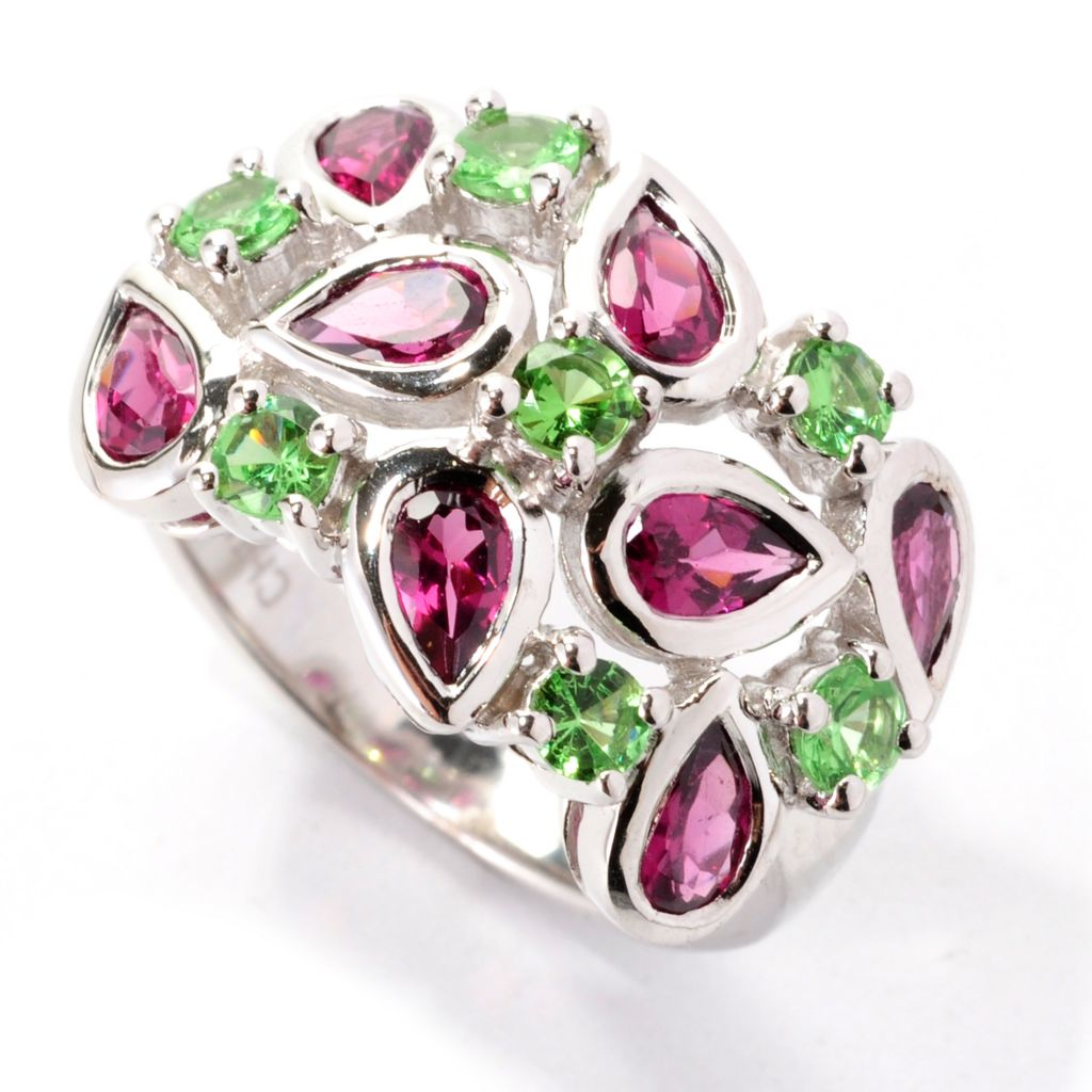 138-959 - Gem Insider Sterling Silver 2.43ctw Rhodolite & Tsvaorite Wide Band Ring