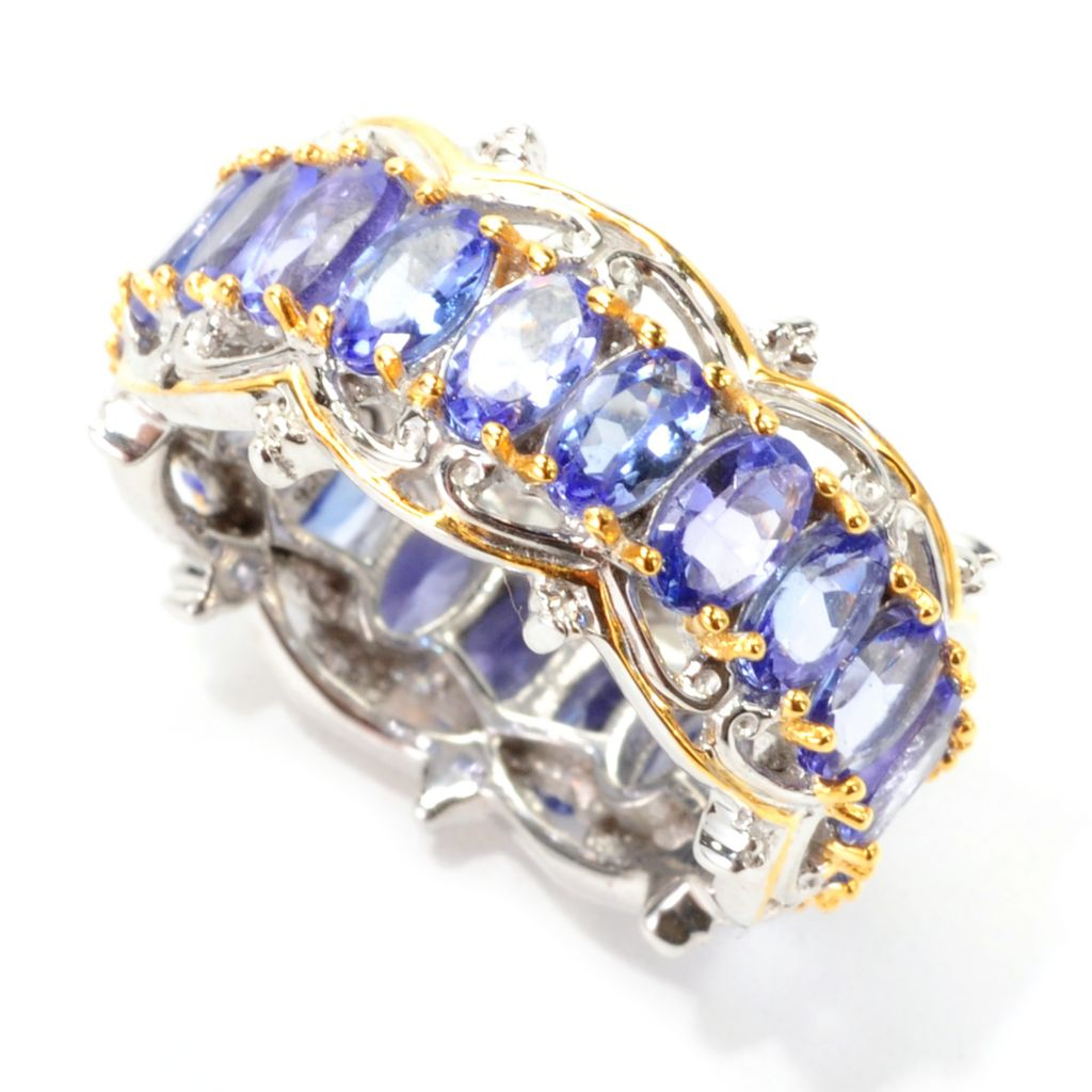 138-961 - Gems en Vogue 5.72ctw Oval Tanzanite Eternity Band Ring