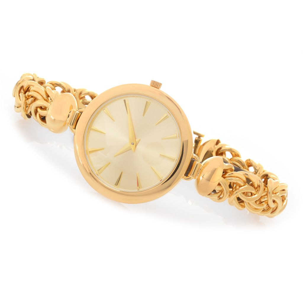 138-973 - Portofino 18K Gold Embraced™ Polished Byzantine Link Bracelet Watch
