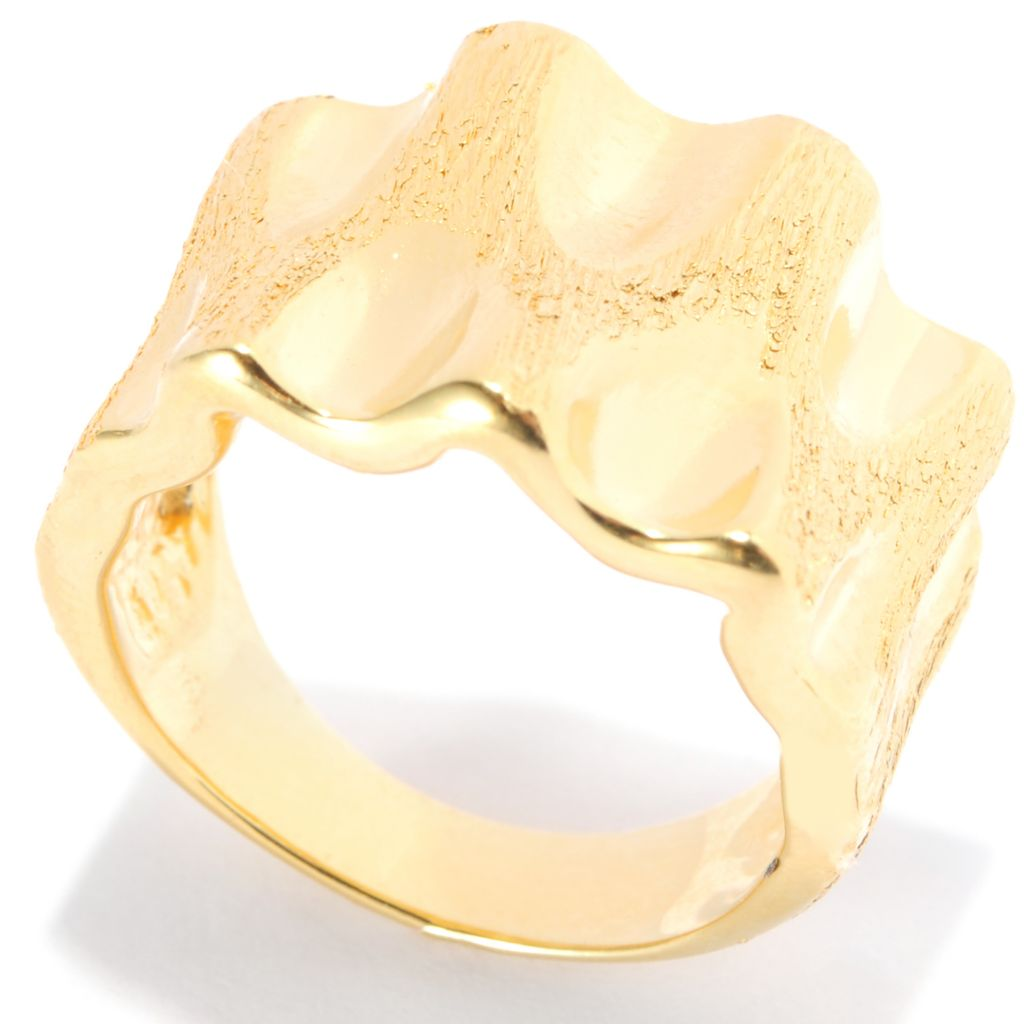 138-976 - Portofino 18K Gold Embraced™ Polished & Brushed Wave Ring