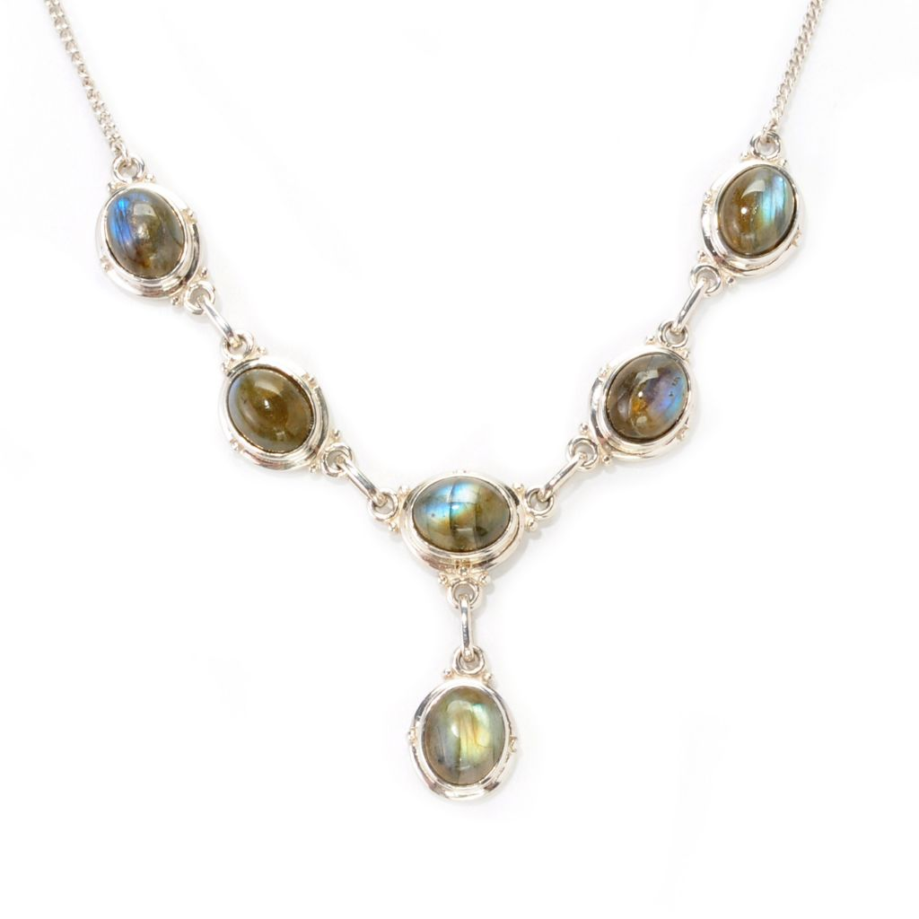 "138-993 - Gem Insider Sterling Silver 18"" 10 x 8mm Labradorite Drop Necklace"