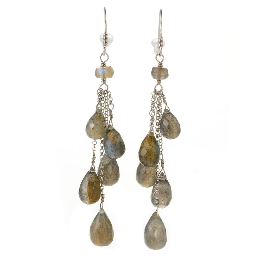 "138-995 - Gem Insider Sterling Silver 3"" 12 x 8mm Labradorite Drop Earrings"
