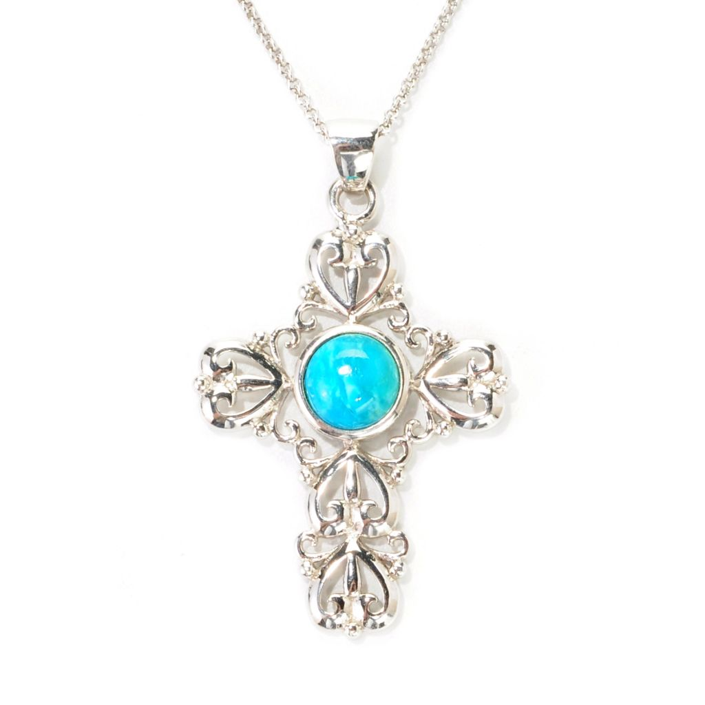 138-996 - Gem Insider Sterling Silver 9mm Round Kingman Turquoise Cross Pendant