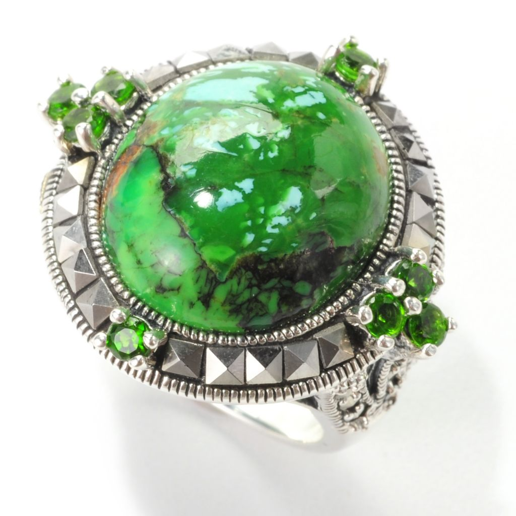 138-999 - Gem Insider Sterling Silver 17 x 15mm Green Kingman Turquoise & Multi Gem Ring