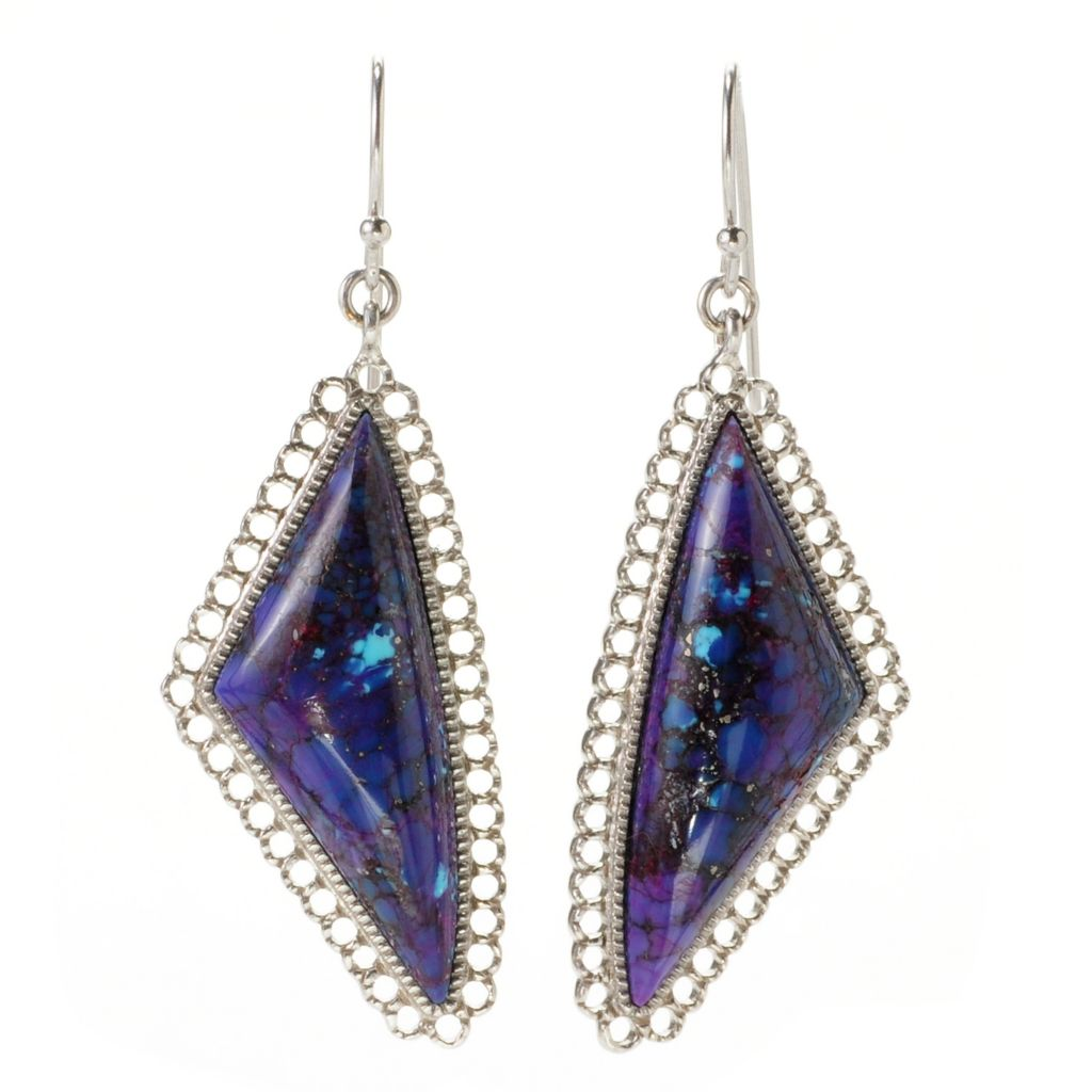 "139-000 - Gem Insider Sterling Silver 2"" 33 x 13mm Purple Mohave Turquoise Drop Earrings"
