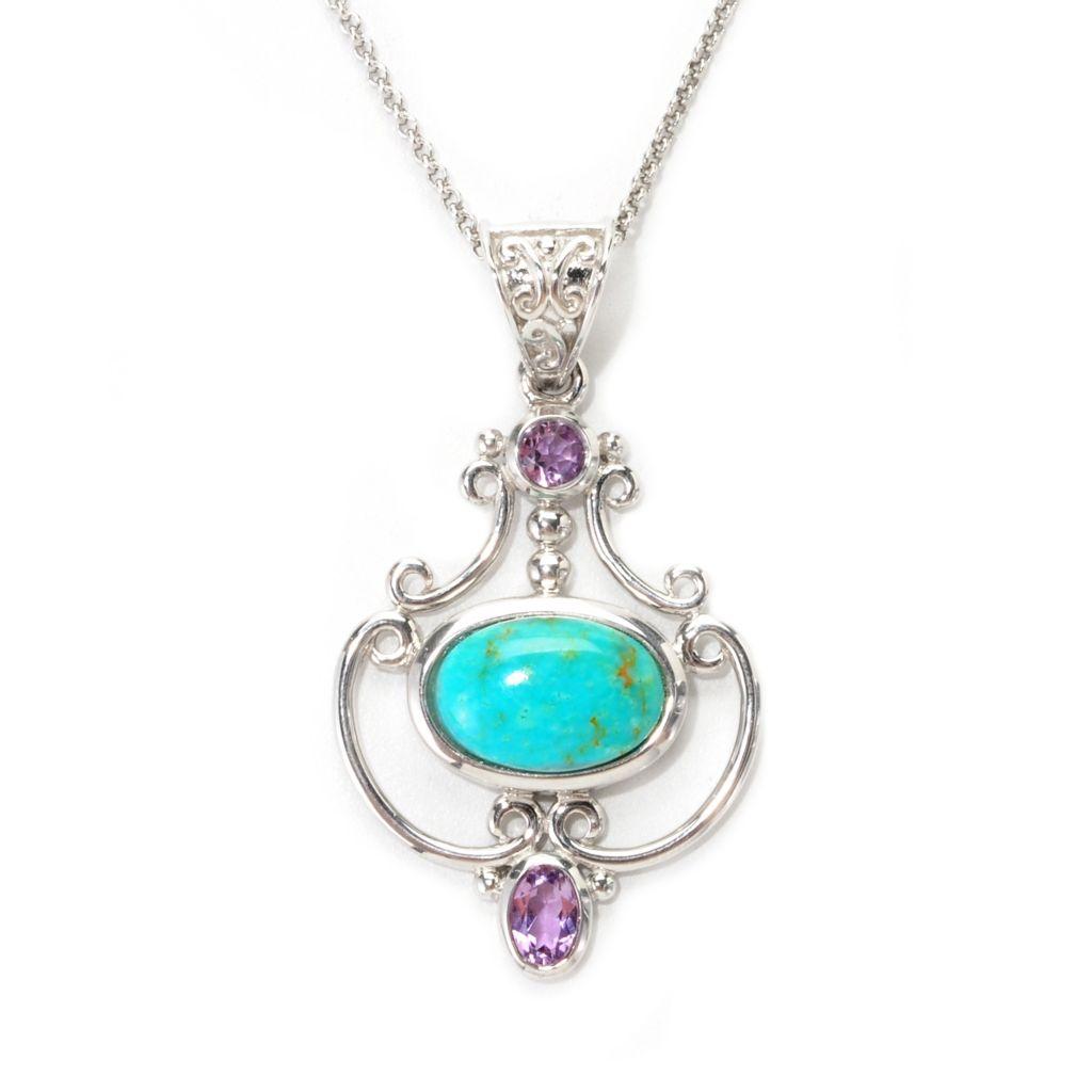 139-001 - Gem Insider Sterling Silver Kingman Turquoise & Amethyst Drop Pendant w/ Chain