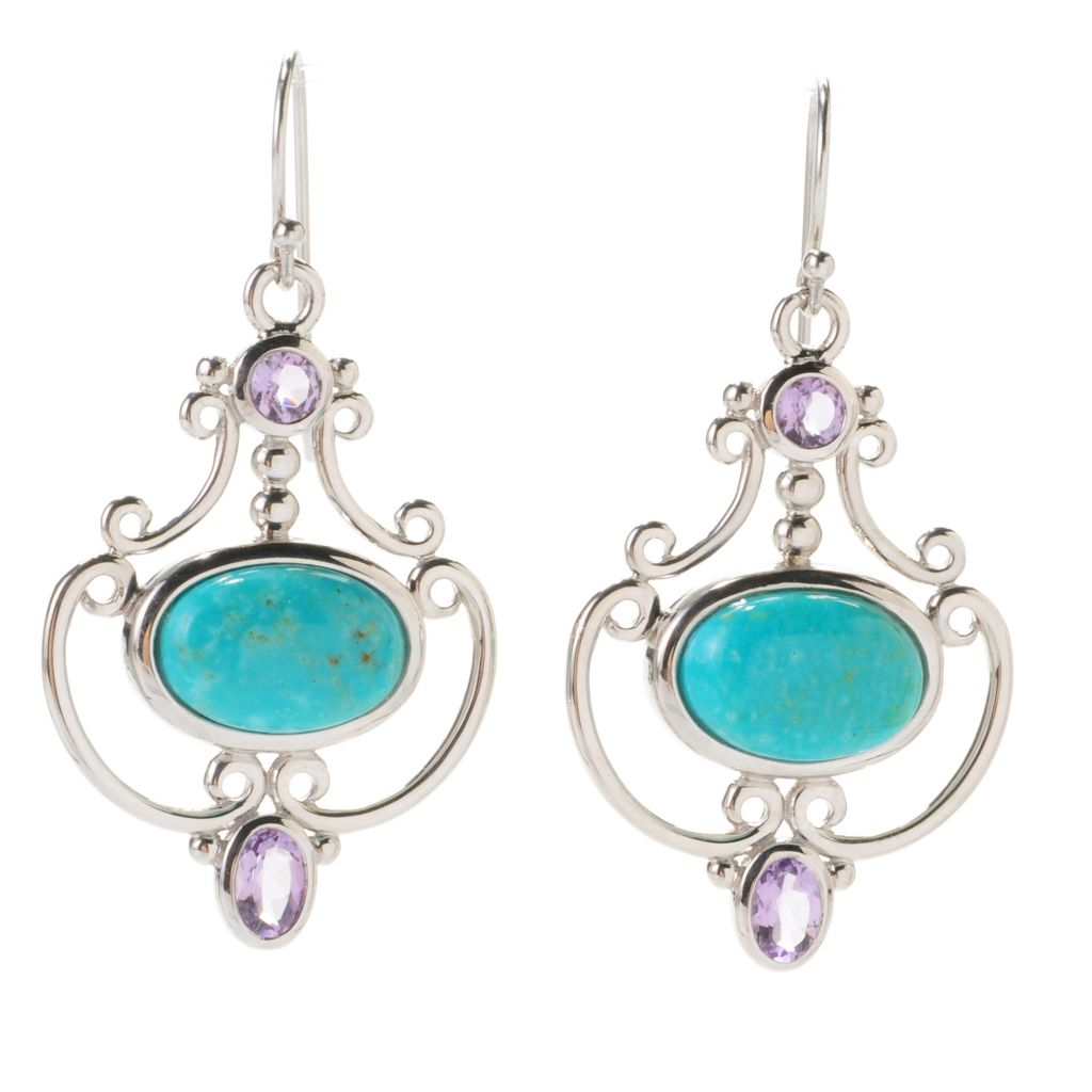 "139-002 - Gem Insider Sterling Silver 1.5"" Amethyst & Kingman Turquoise Drop Earrings"
