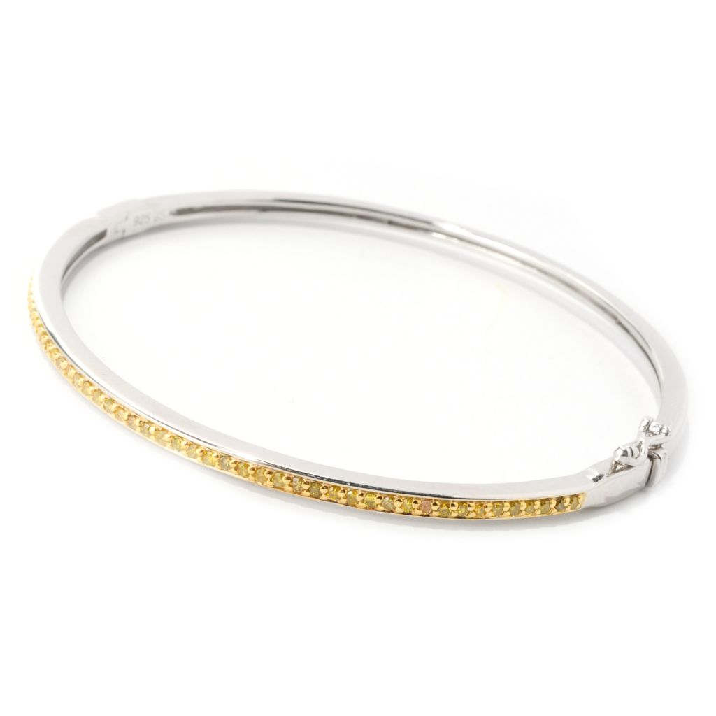 "139-004 - Diamond Treasures Sterling Silver 7"" 0.50ctw Fancy Color Diamond Bangle Bracelet"