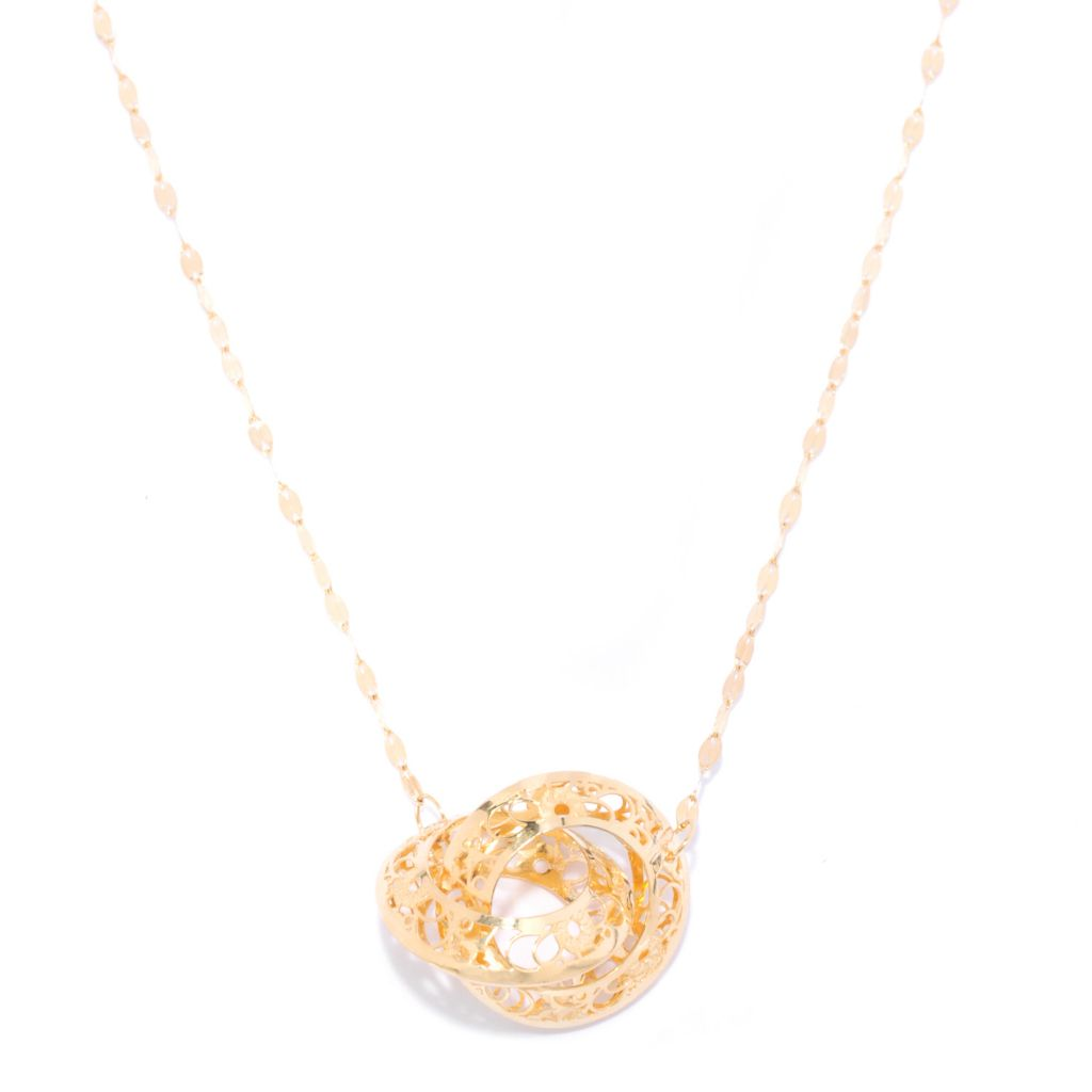 "139-005 - Italian Designs with Stefano 20"" 14K Gold Ricami ""Infinito Amore"" Circle Necklace"