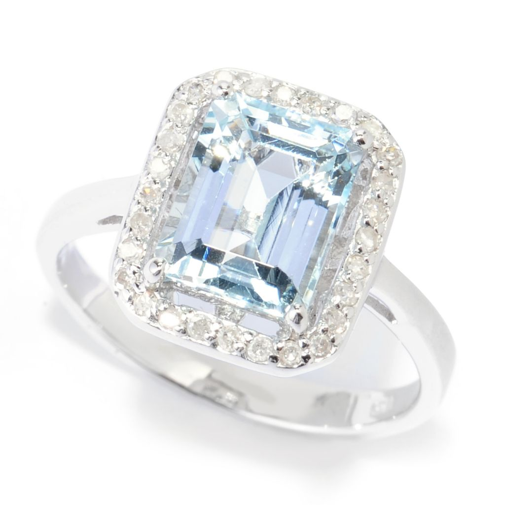 139-007 - Gem Treasures Sterling Silver 2.14ctw Aquamarine & Diamond Halo Ring