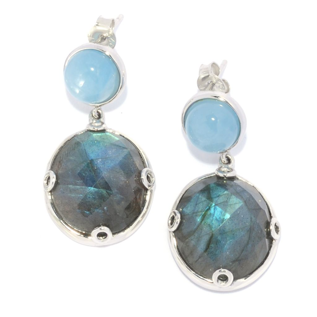 "139-009 - Gem Insider Sterling Silver 1"" Aquamarine & Labradorite Drop Earrings"