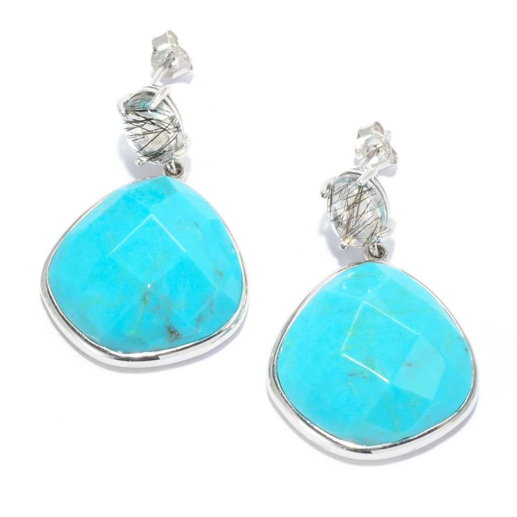 "139-011 - Gem Insider Sterling Silver 1"" Freeform Turquoise & Rutilated Quartz Drop Earrings"