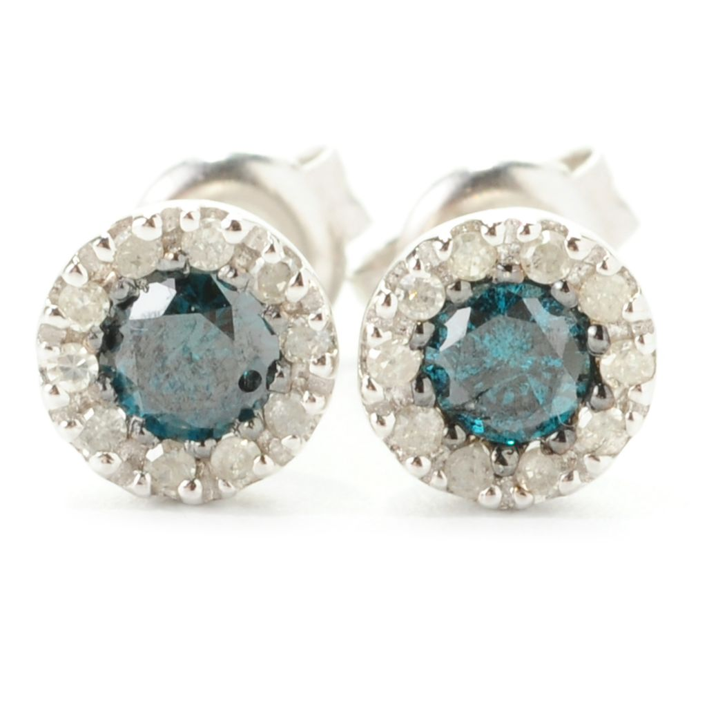 139-012 - Diamond Treasures Sterling Silver 0.50ctw Round Multi Diamond Halo Earrings