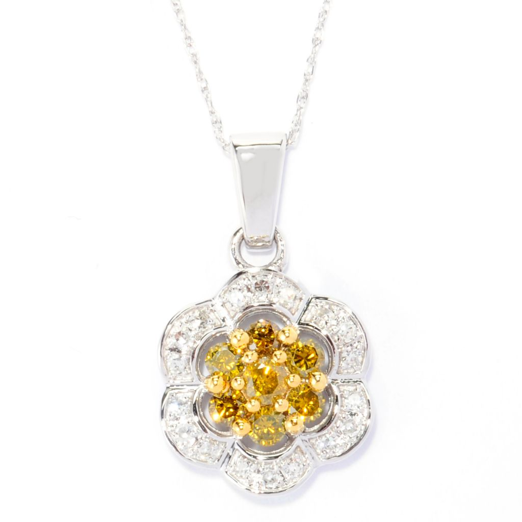 139-014 - Diamond Treasures 14K White Gold 0.50ctw Yellow & White Diamond Flower Pendant