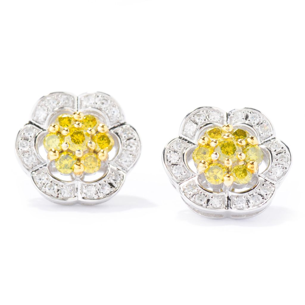 139-015 - Diamond Treasures 14K White Gold 1.00ctw Yellow & White Diamond Flower Earrings