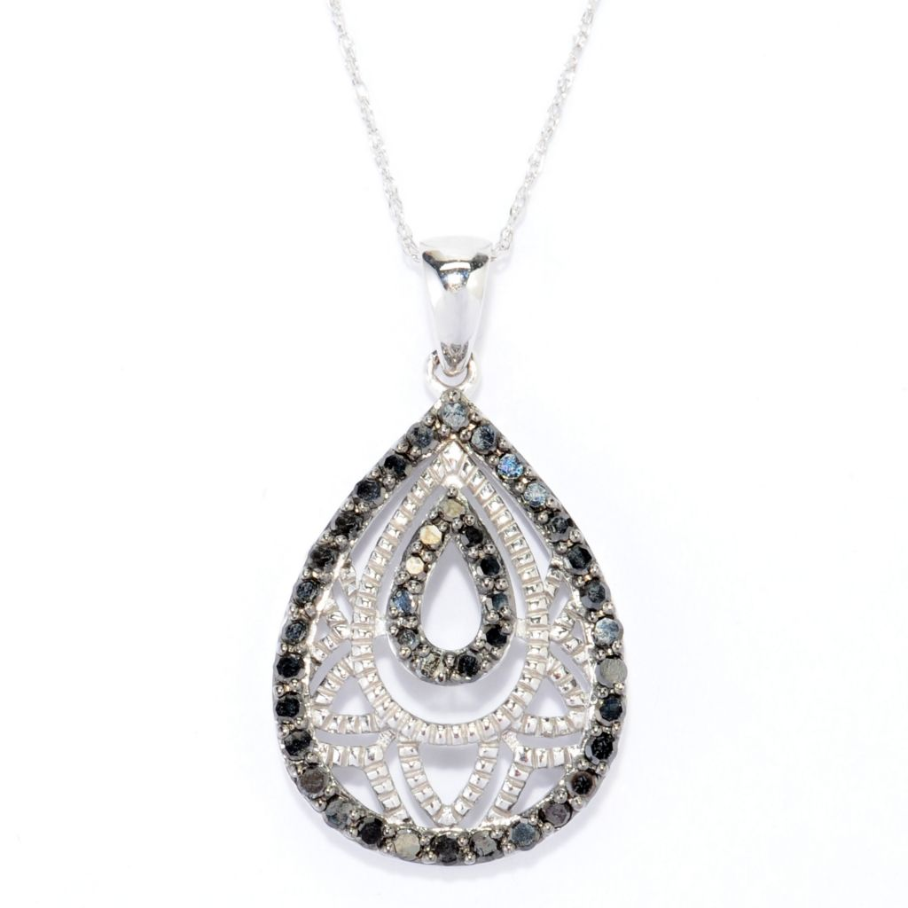 139-016 - Diamond Treasures 14K White Gold 0.49ctw Black Diamond Teardrop Pendant w/ Chain