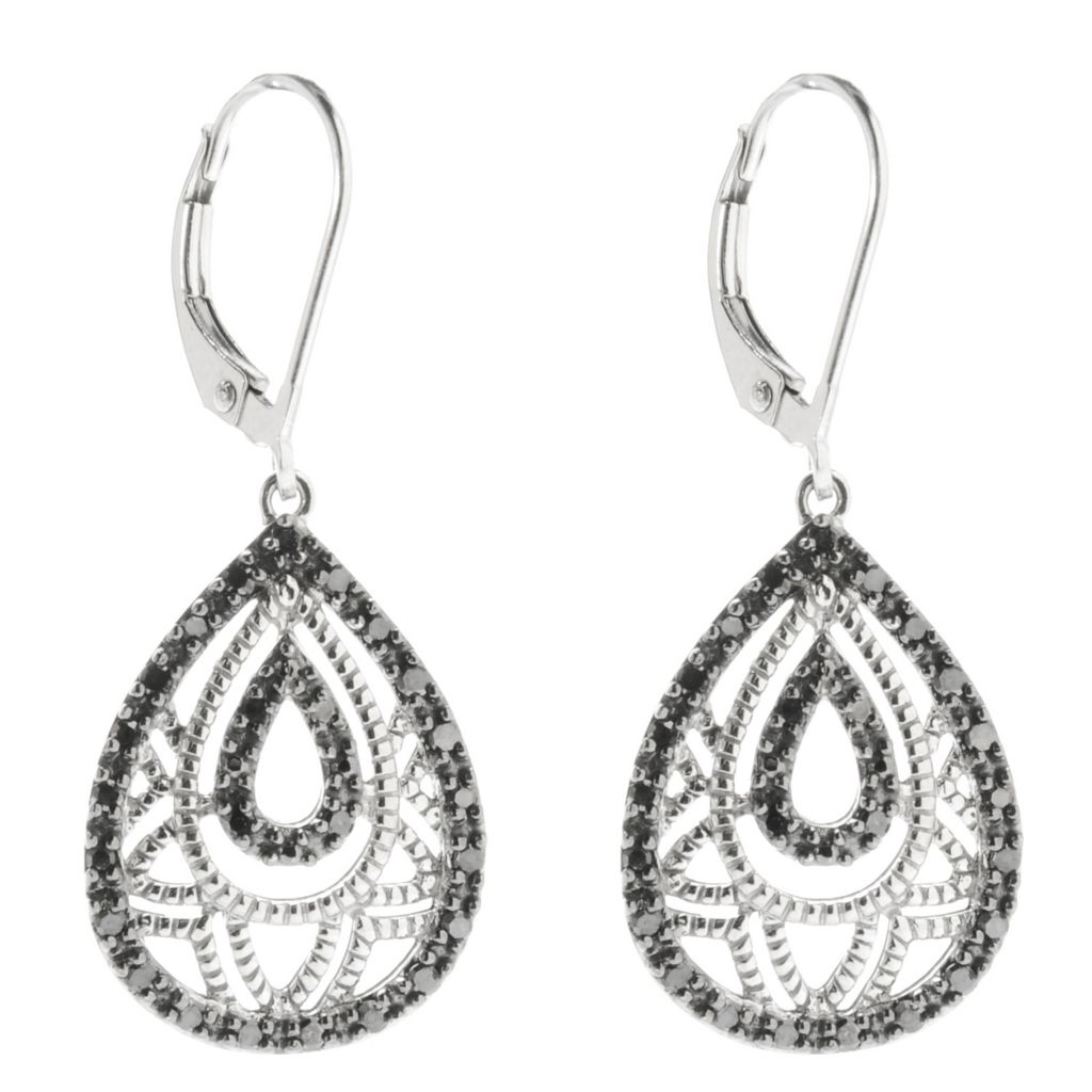 "139-017 - Diamond Treasures 14K White Gold 1.25"" 0.33ctw Black Diamond Teardrop Earrings"