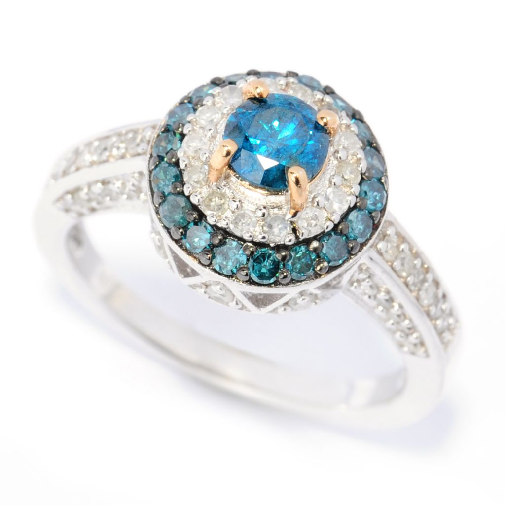 139-018 - Diamond Treasures Sterling Silver 1.02ctw Blue & White Diamond Double Halo Ring