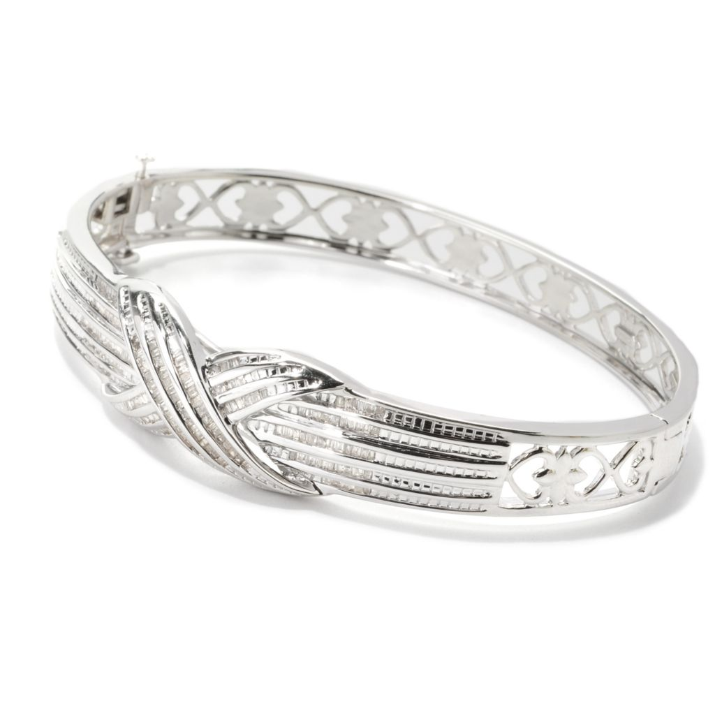 "139-019 - Diamond Treasures Sterling Silver 7.25"" 0.94ctw Diamond Crossover Bangle Bracelet"