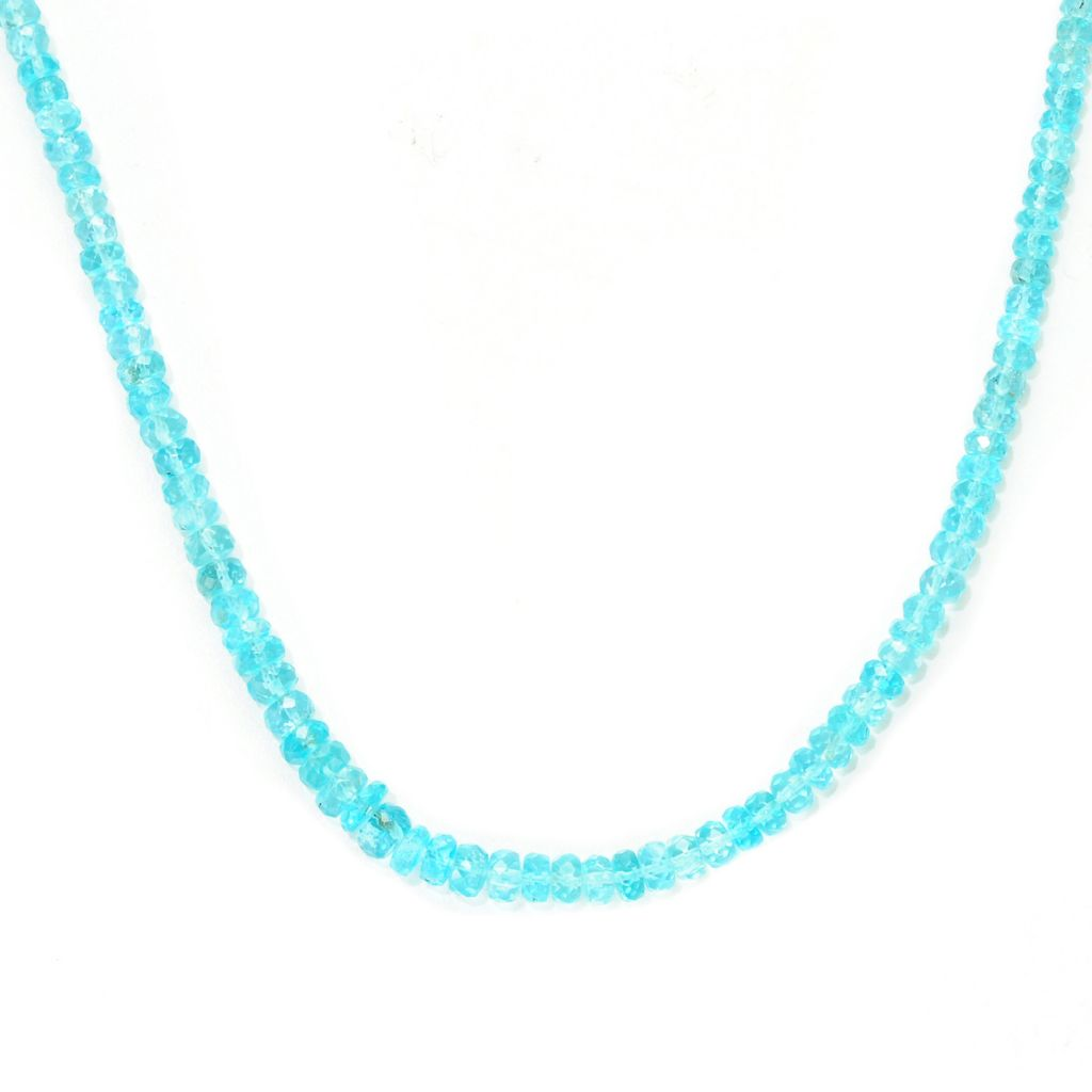 "139-022 - Gem Treasures Sterling Silver 18"" Blue Apatite Beaded Necklace w/ 2"" Extender"