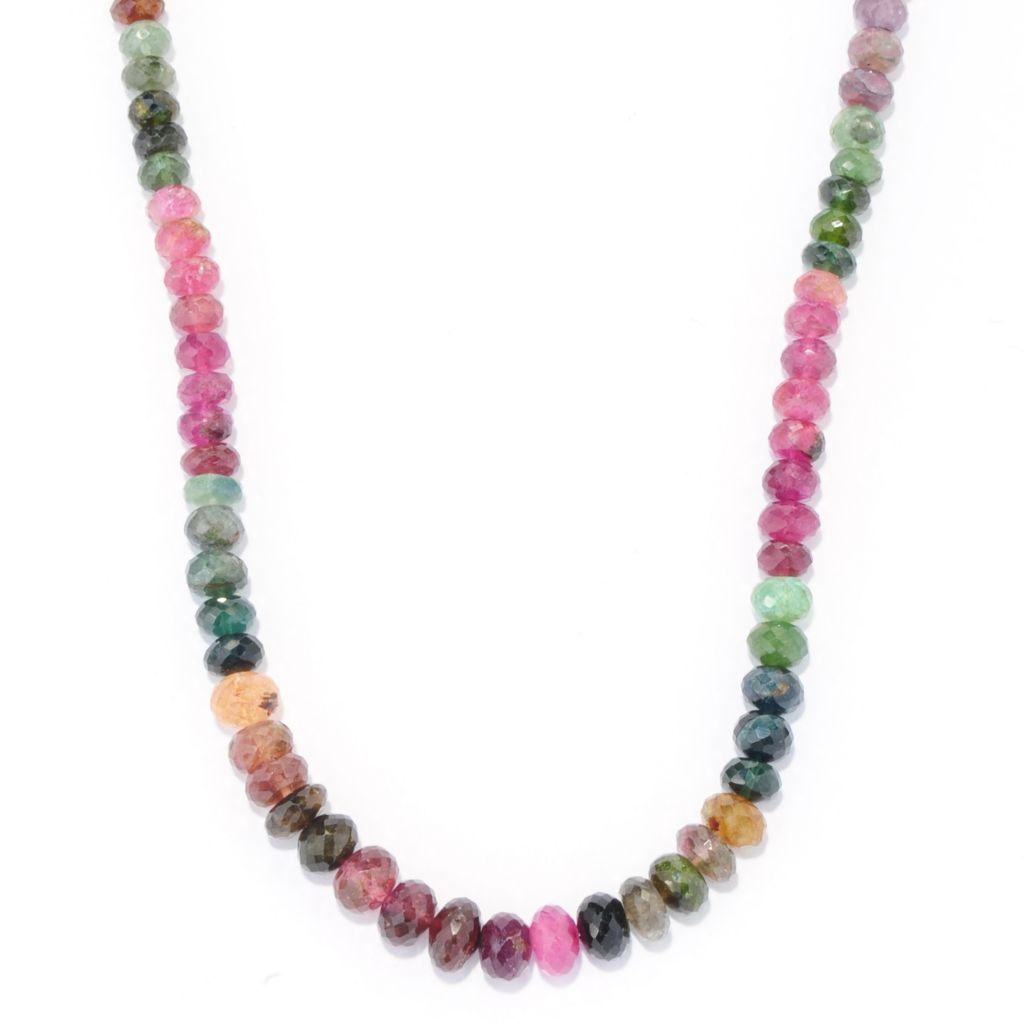 "139-023 - Gem Treasures Sterling Silver 18"" Multi Color Tourmaline Graduated Necklace"