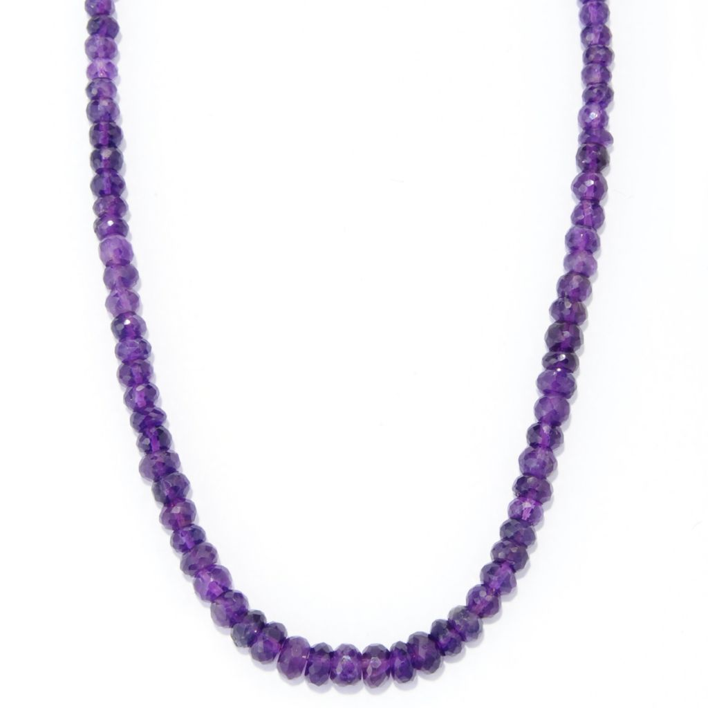 "139-024 - Gem Treasures Sterling Silver 18"" Amethyst Graduated Bead Necklace"