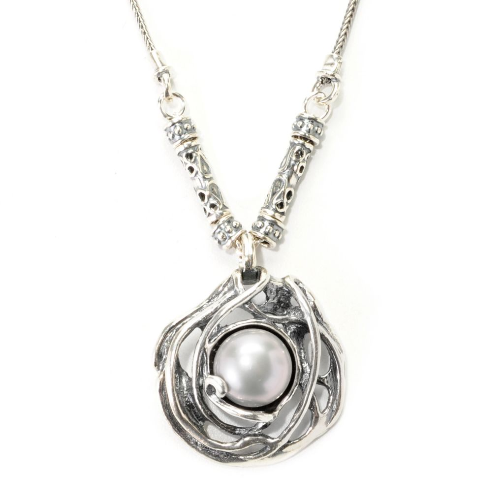 """139-025 - Passage to Israel Sterling Silver 18"""" 11mm Freshwater Cultured Pearl Solitaire Necklace"""