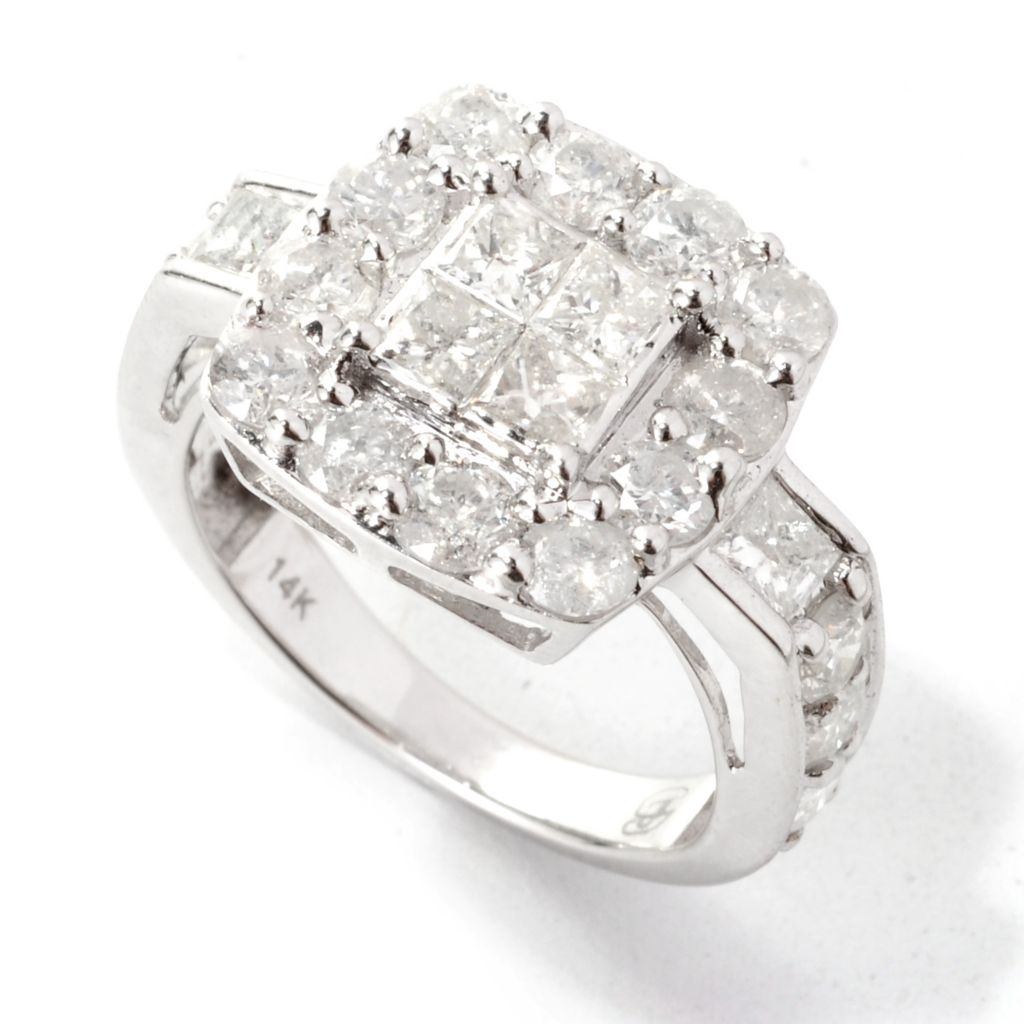 139-031 - Diamond Treasures 14K White Gold 2.95ctw Multi Shape Diamond Square Halo Ring