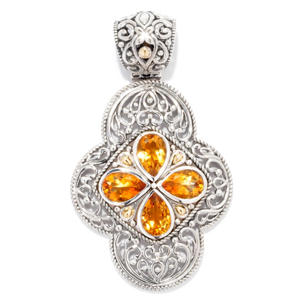 139-033 - Artisan Silver by Samuel B. Two-tone 1.60ctw Pear Shaped Gemstone Openwork Pendant