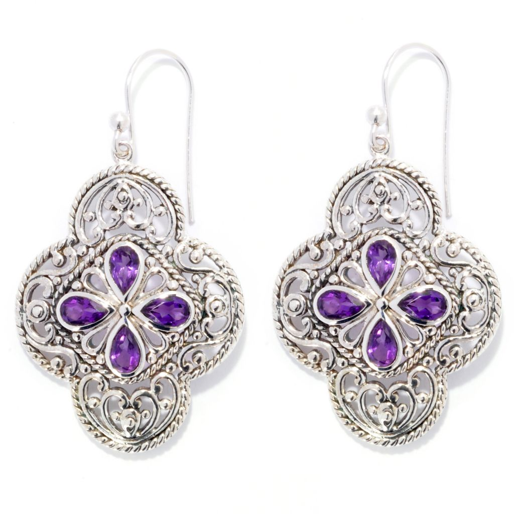 "139-034 - Artisan Silver by Samuel B. 1.75"" Pear Shaped Gemstone Openwork Drop Earrings"