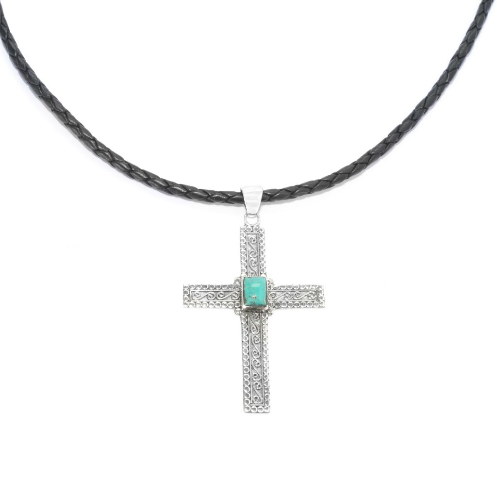 "139-035 - Artisan Silver by Samuel B. 7 x 5mm Turquoise Cross Pendant w/ 20"" Leather Cord"