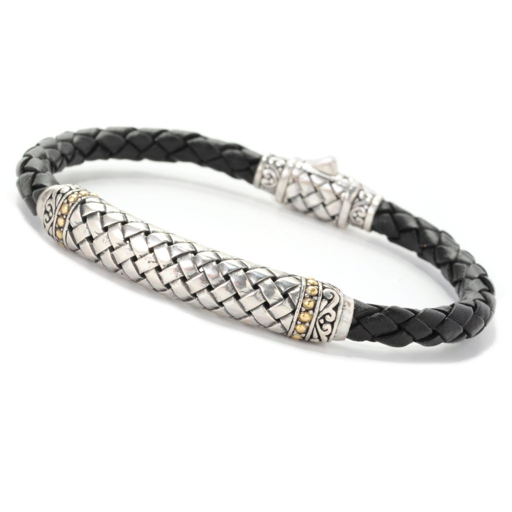 "139-037 - Artisan Silver by Samuel B. Two-tone 8"" Braided Leather Basket Weave Bracelet"
