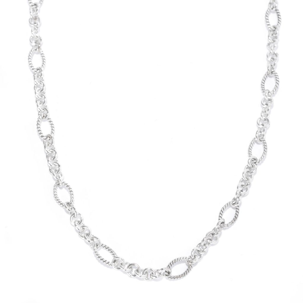 139-039 - Artisan Silver by Samuel B. Textured Oval & Circle Link Necklace