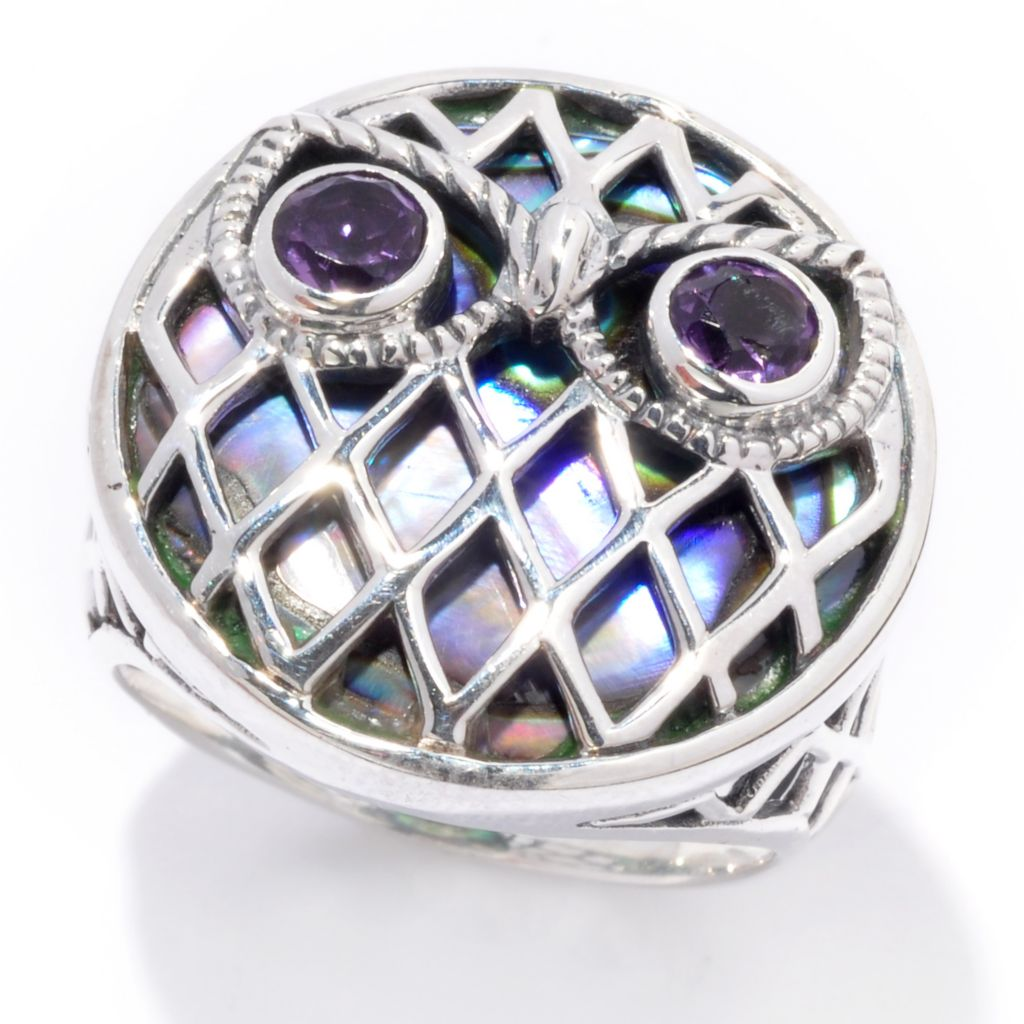 139-042 - Artisan Silver by Samuel B. Amethyst & Paua Shell Inlay Woven Design Owl Ring