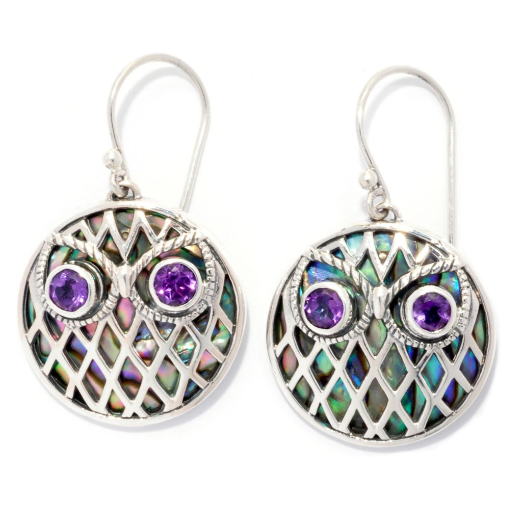 "139-043 - Artisan Silver by Samuel B. 1.25"" Amethyst & Paua Shell Inlay Woven Design Owl Drop Earrings"